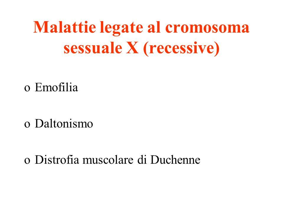 Malattie legate al cromosoma sessuale X (recessive) oEmofilia oDaltonismo oDistrofia muscolare di Duchenne