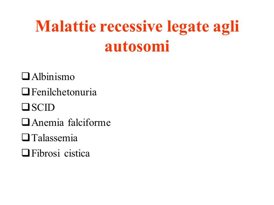 Malattie recessive legate agli autosomi Albinismo Fenilchetonuria SCID Anemia falciforme Talassemia Fibrosi cistica