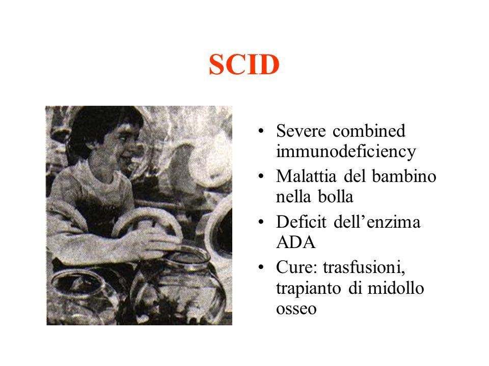 SCID Severe combined immunodeficiency Malattia del bambino nella bolla Deficit dellenzima ADA Cure: trasfusioni, trapianto di midollo osseo