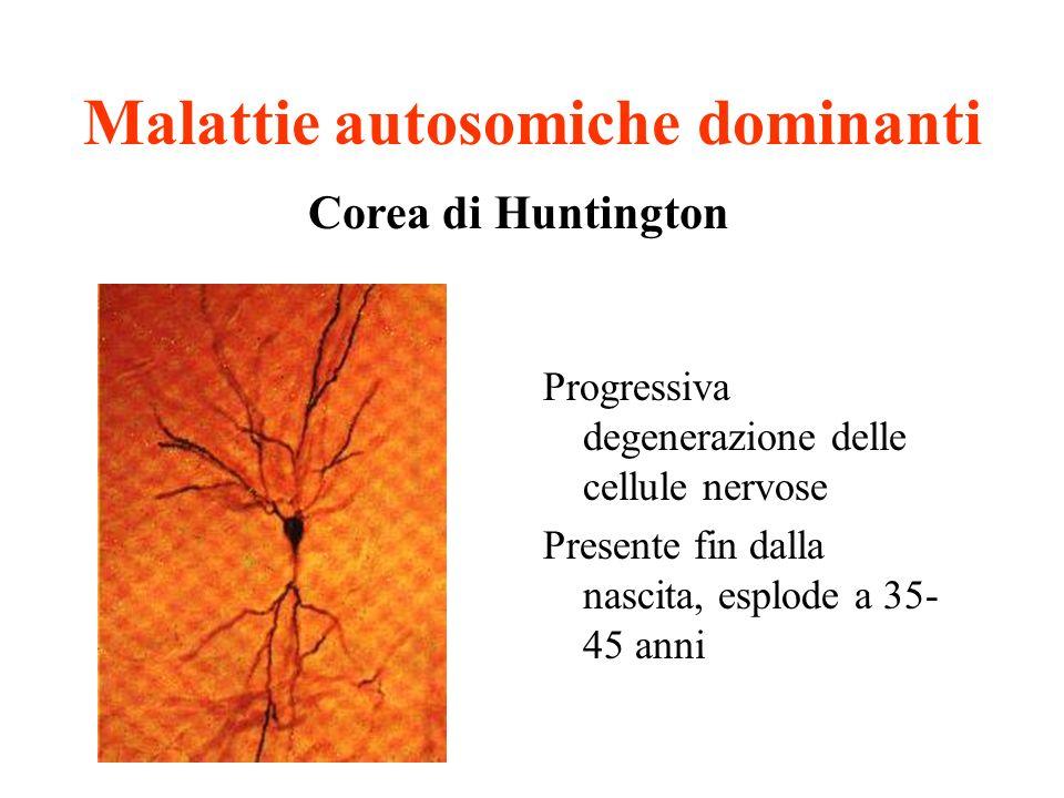 Malattie autosomiche dominanti Progressiva degenerazione delle cellule nervose Presente fin dalla nascita, esplode a 35- 45 anni Corea di Huntington