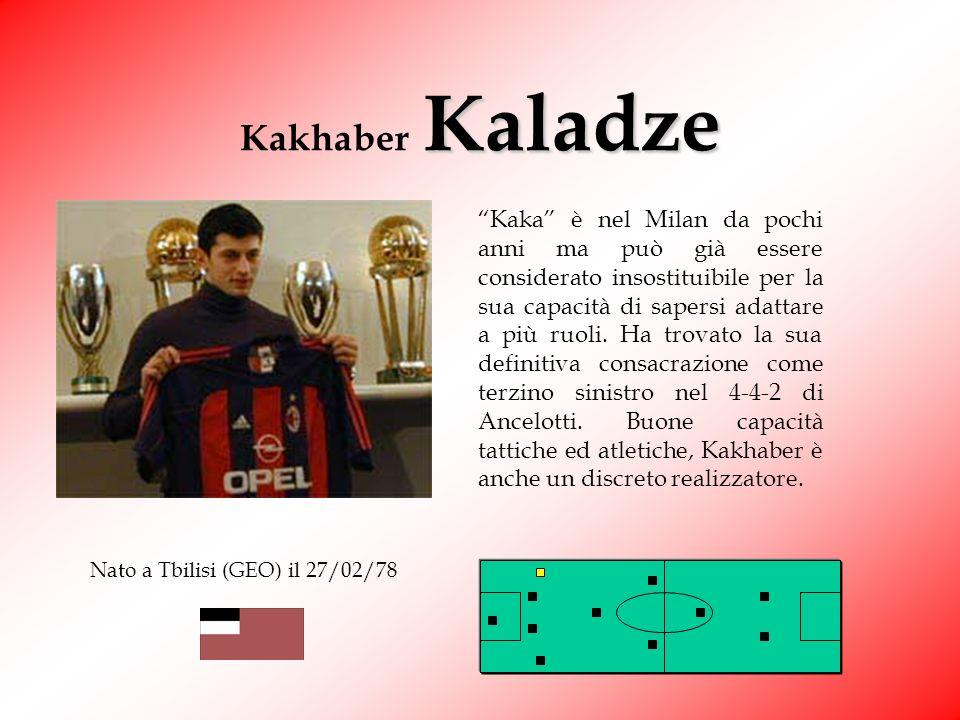 Kakhaber Kaladze Kaka è nel Milan da pochi anni ma può già essere considerato insostituibile per la sua capacità di sapersi adattare a più ruoli.