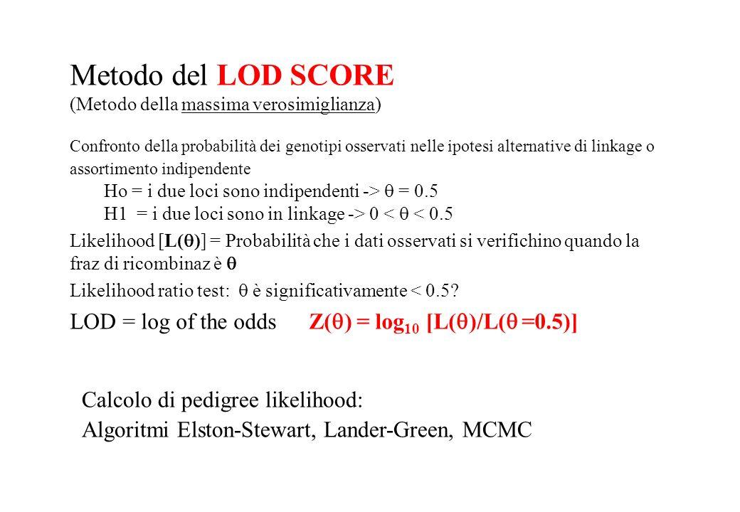 Metodo del LOD SCORE (Metodo della massima verosimiglianza) Confronto della probabilità dei genotipi osservati nelle ipotesi alternative di linkage o