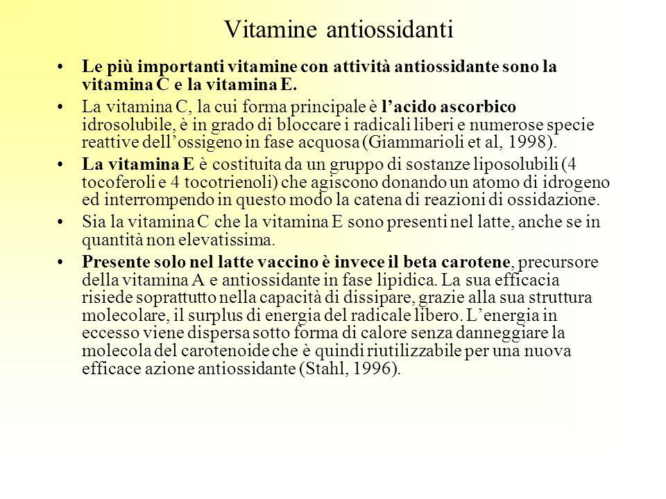 Vitamine antiossidanti Le più importanti vitamine con attività antiossidante sono la vitamina C e la vitamina E. La vitamina C, la cui forma principal