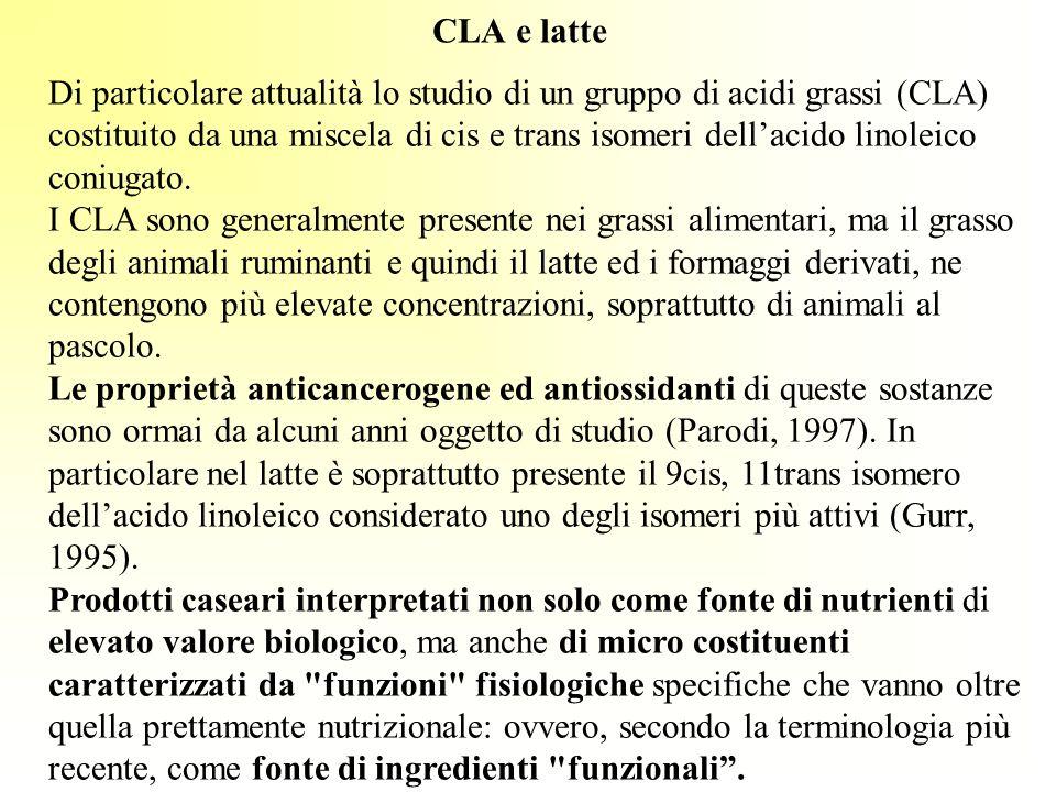 CLA e latte Di particolare attualità lo studio di un gruppo di acidi grassi (CLA) costituito da una miscela di cis e trans isomeri dellacido linoleico
