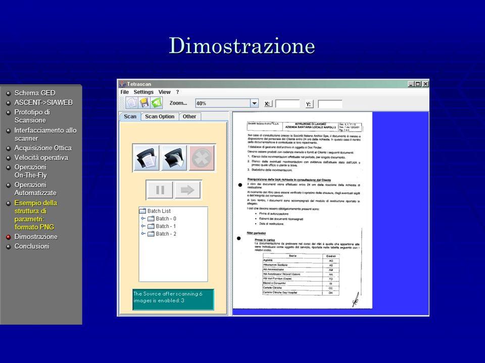 Dimostrazione Schema GED ASCENT->SIAWEB Prototipo di Scansione Interfacciamento allo scanner Acquisizione Ottica Velocità operativa Operazioni On-The-Fly Operazioni Automatizzate Esempio della struttura di parametri: formato PNG DimostrazioneConclusioni