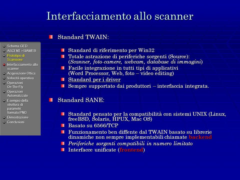 Interfacciamento allo scanner Standard TWAIN: Standard di riferimento per Win32 Totale astrazione di periferiche sorgenti (Source): ( Scanner, foto-camere, webcam, database di immagini ) Facile integrazione in tutti tipi di applicativi (Word Processor, Web, foto – video editing) Standard per i driver Sempre supportato dai produttori – interfaccia integrata.