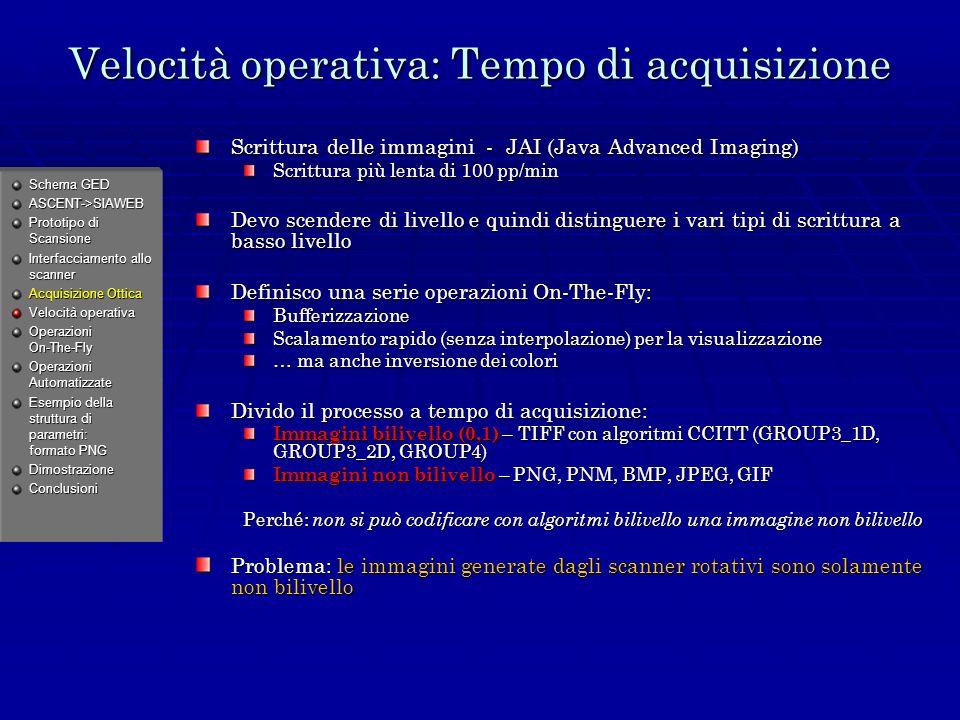 Velocità operativa: Tempo di acquisizione Scrittura delle immagini - JAI (Java Advanced Imaging) Scrittura più lenta di 100 pp/min Devo scendere di livello e quindi distinguere i vari tipi di scrittura a basso livello Definisco una serie operazioni On-The-Fly: Bufferizzazione Scalamento rapido (senza interpolazione) per la visualizzazione … ma anche inversione dei colori Divido il processo a tempo di acquisizione: Immagini bilivello (0,1) – TIFF con algoritmi CCITT (GROUP3_1D, GROUP3_2D, GROUP4) Immagini non bilivello – PNG, PNM, BMP, JPEG, GIF Perché: non si può codificare con algoritmi bilivello una immagine non bilivello Problema: le immagini generate dagli scanner rotativi sono solamente non bilivello Schema GED ASCENT->SIAWEB Prototipo di Scansione Interfacciamento allo scanner Acquisizione Ottica Velocità operativa Operazioni On-The-Fly Operazioni Automatizzate Esempio della struttura di parametri: formato PNG DimostrazioneConclusioni