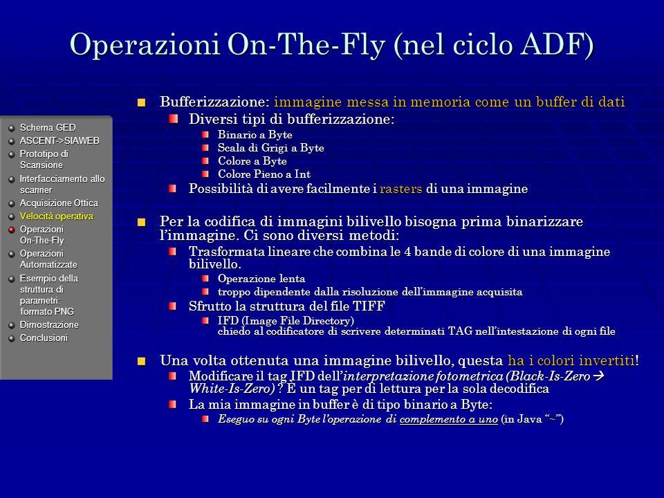 Operazioni On-The-Fly (nel ciclo ADF) Bufferizzazione: immagine messa in memoria come un buffer di dati Diversi tipi di bufferizzazione: Binario a Byte Scala di Grigi a Byte Colore a Byte Colore Pieno a Int Possibilità di avere facilmente i rasters di una immagine Per la codifica di immagini bilivello bisogna prima binarizzare limmagine.