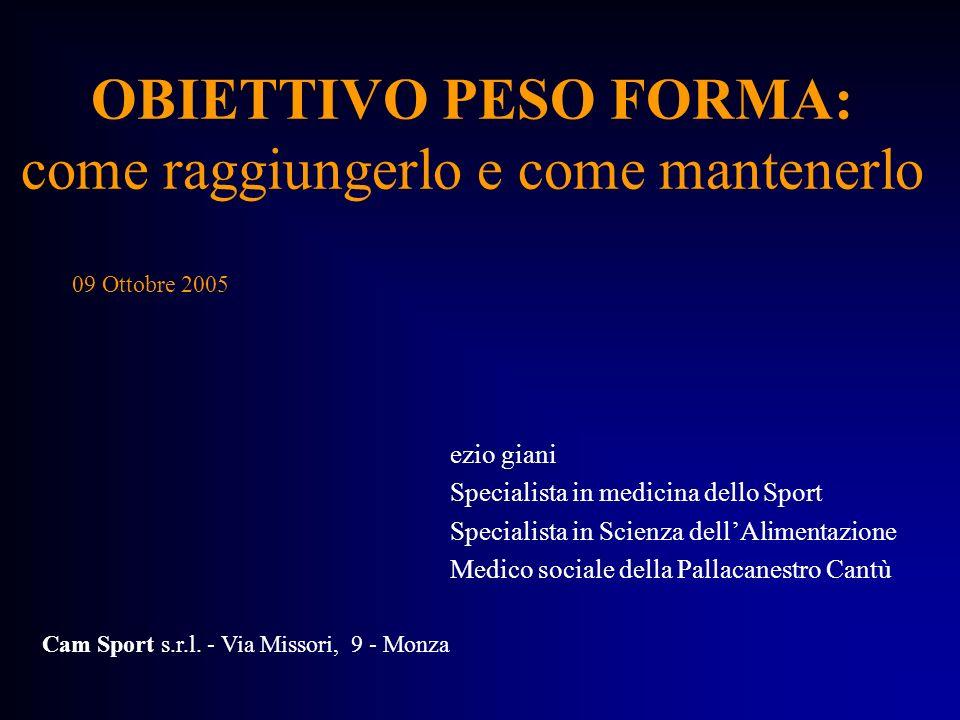 OBIETTIVO PESO FORMA: come raggiungerlo e come mantenerlo ezio giani Specialista in medicina dello Sport Specialista in Scienza dellAlimentazione Medi