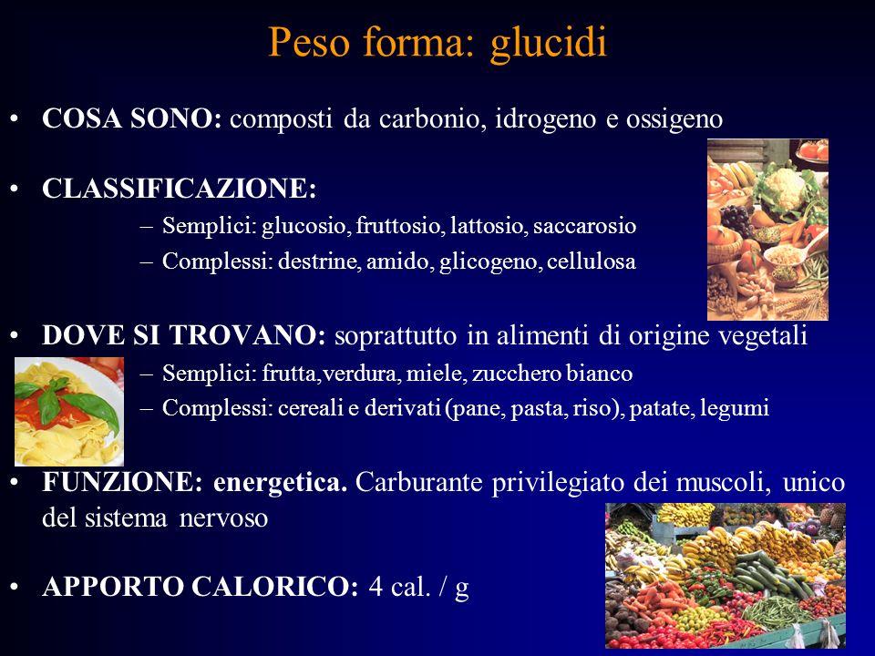 Peso forma: lipidi COSA SONO: composti da carbonio, idrogeno e ossigeno.