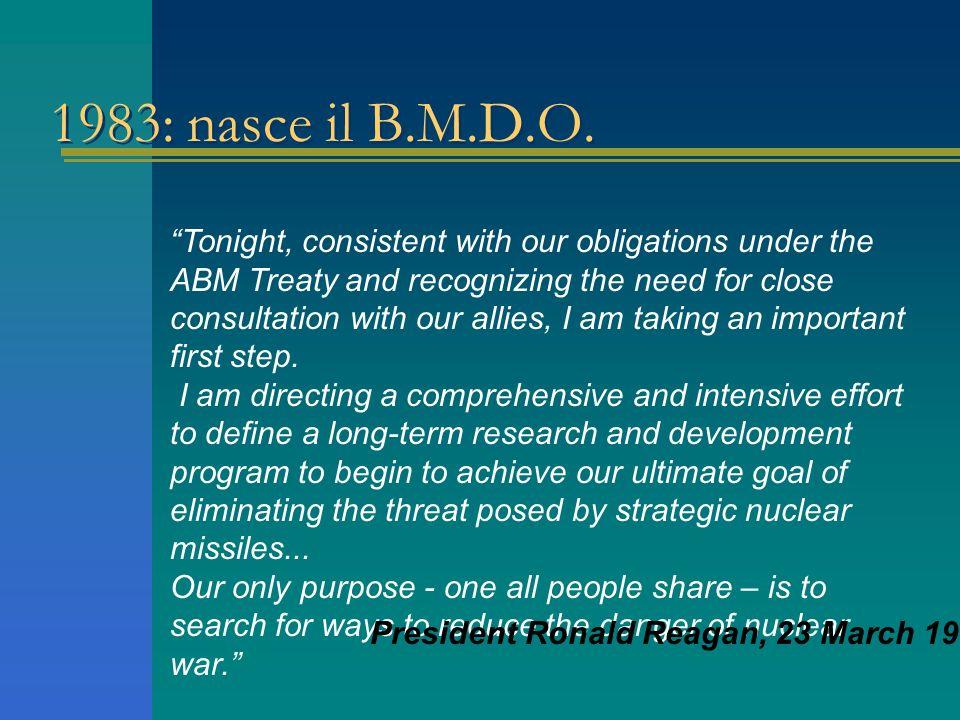 Sommario… Origini del BMDO Cenni storici: il sistema missilistico Nike Theatre Missile Defense –Intercettamento in fase di decollo National Missile De