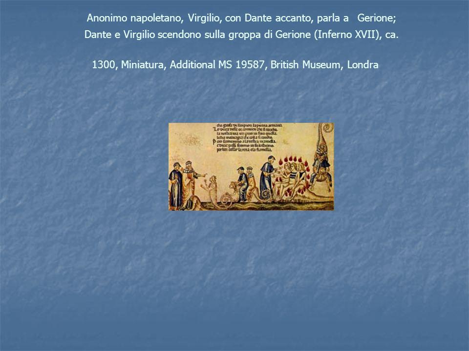 Anonimo napoletano, Virgilio, con Dante accanto, parla a Gerione; Dante e Virgilio scendono sulla groppa di Gerione (Inferno XVII), ca. 1300, Miniatur