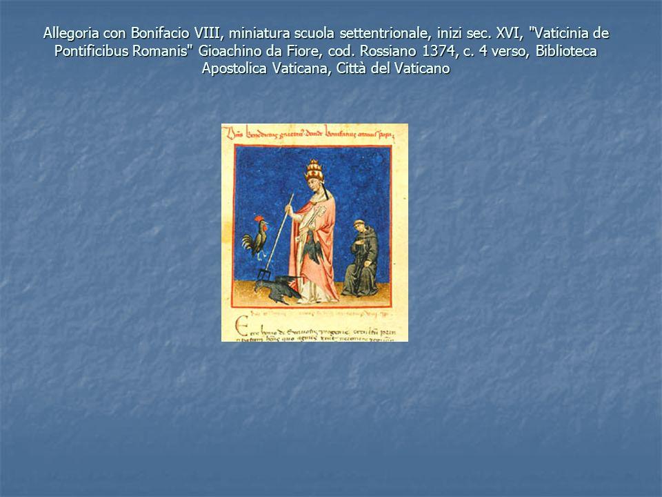 Allegoria con Bonifacio VIII, miniatura scuola settentrionale, inizi sec. XVI,