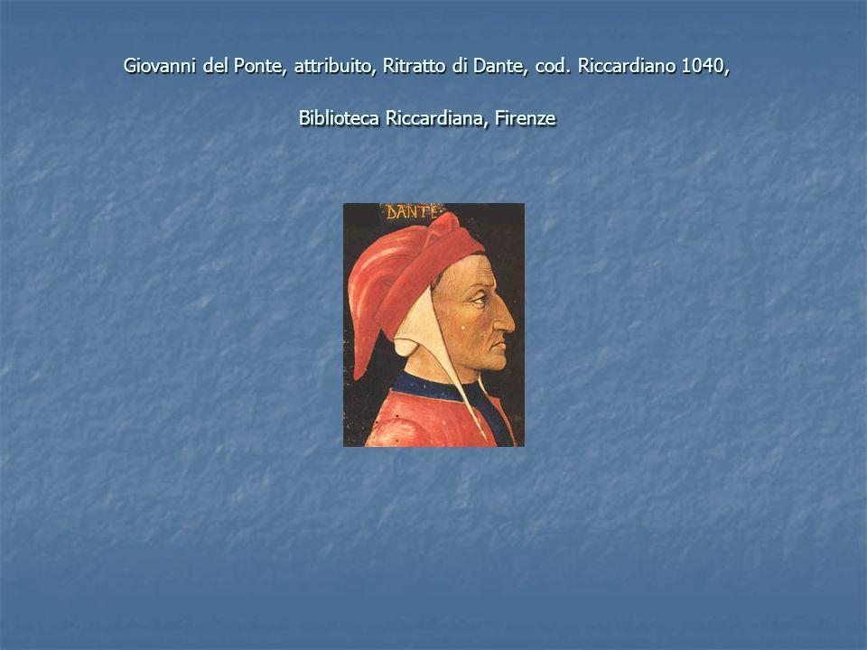 Giovanni del Ponte, attribuito, Ritratto di Dante, cod. Riccardiano 1040, Biblioteca Riccardiana, Firenze