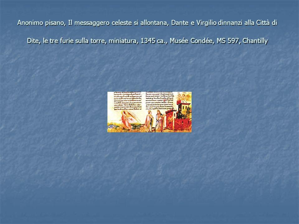 Anonimo pisano, Il messaggero celeste si allontana, Dante e Virgilio dinnanzi alla Città di Dite, le tre furie sulla torre, miniatura, 1345 ca., Musée