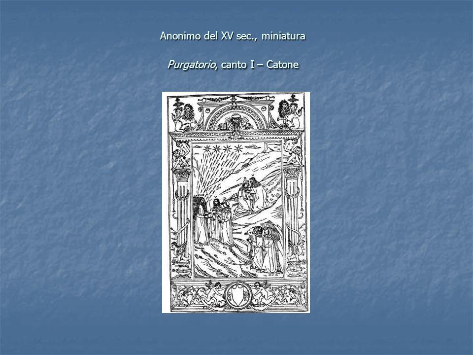 Anonimo del XV sec., miniatura Purgatorio, canto I – Catone