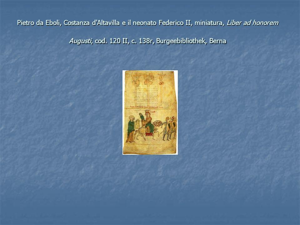 Pietro da Eboli, Costanza d'Altavilla e il neonato Federico II, miniatura, Liber ad honorem Augusti, cod. 120 II, c. 138r, Burgeebibliothek, Berna