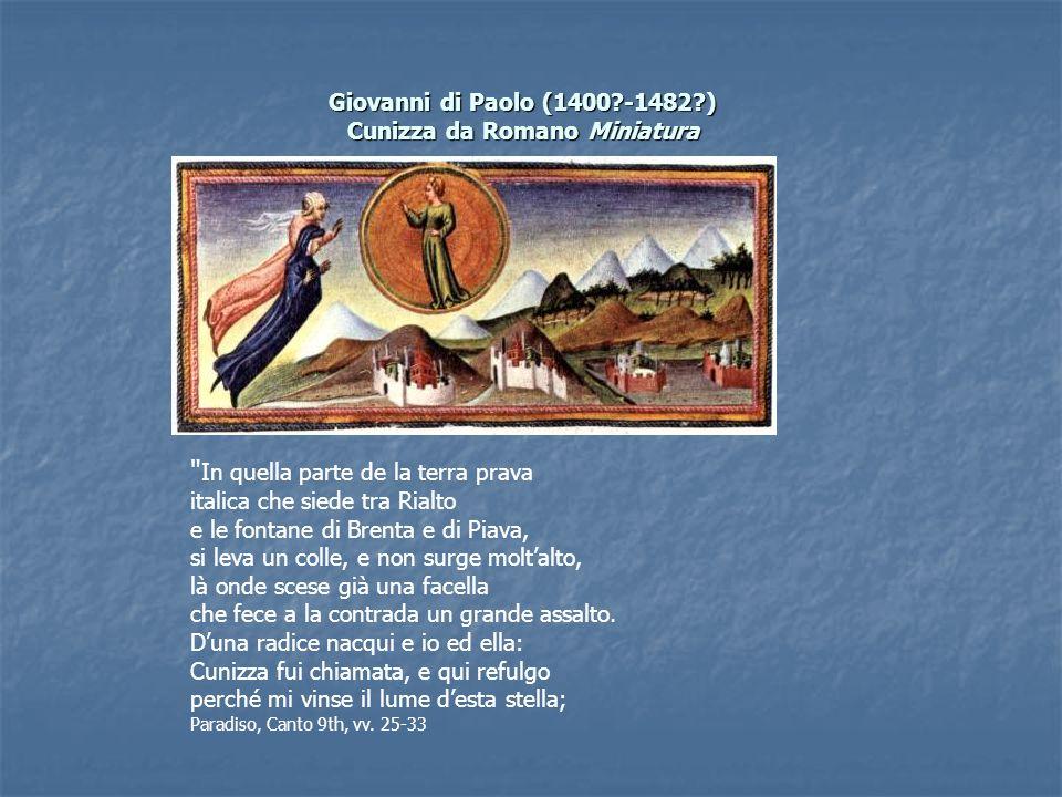 Giovanni di Paolo (1400?-1482?) Cunizza da Romano Miniatura