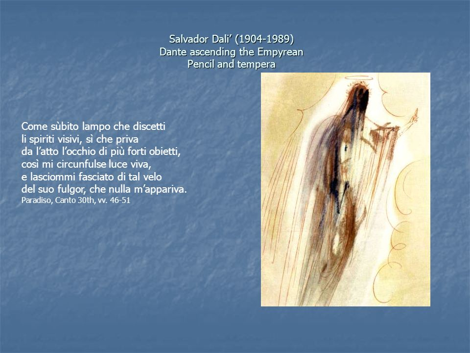 Salvador Dali (1904-1989) Dante ascending the Empyrean Pencil and tempera Come sùbito lampo che discetti li spiriti visivi, sì che priva da latto locc