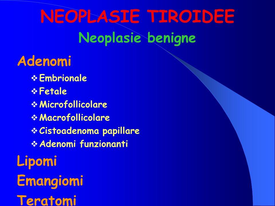 NEOPLASIE TIROIDEE Adenomi Embrionale Fetale Microfollicolare Macrofollicolare Cistoadenoma papillare Adenomi funzionanti Lipomi Emangiomi Teratomi Ne
