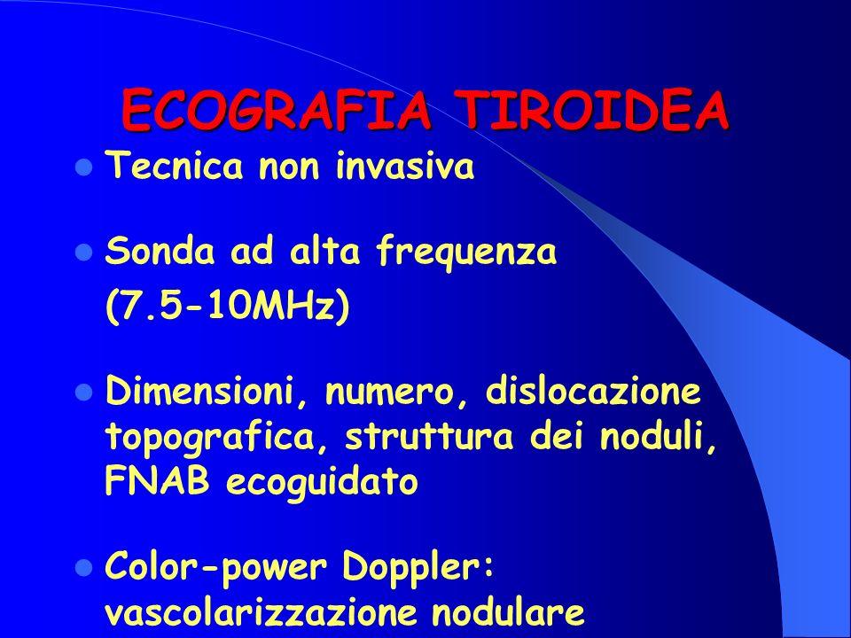 ECOGRAFIA TIROIDEA Tecnica non invasiva Sonda ad alta frequenza (7.5-10MHz) Dimensioni, numero, dislocazione topografica, struttura dei noduli, FNAB e