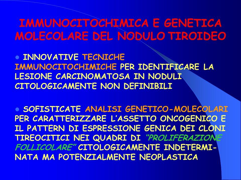 INNOVATIVE TECNICHE IMMUNOCITOCHIMICHE PER IDENTIFICARE LA LESIONE CARCINOMATOSA IN NODULI CITOLOGICAMENTE NON DEFINIBILI SOFISTICATE ANALISI GENETICO