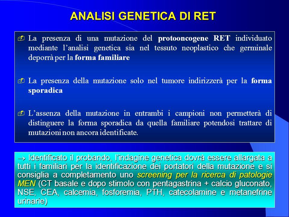 ANALISI GENETICA DI RET ANALISI GENETICA DI RET La presenza di una mutazione del protooncogene RET individuato mediante lanalisi genetica sia nel tess