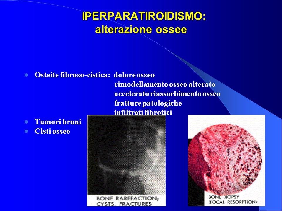 IPERPARATIROIDISMO: alterazione ossee IPERPARATIROIDISMO: alterazione ossee Osteite fibroso-cistica: dolore osseo rimodellamento osseo alterato accele