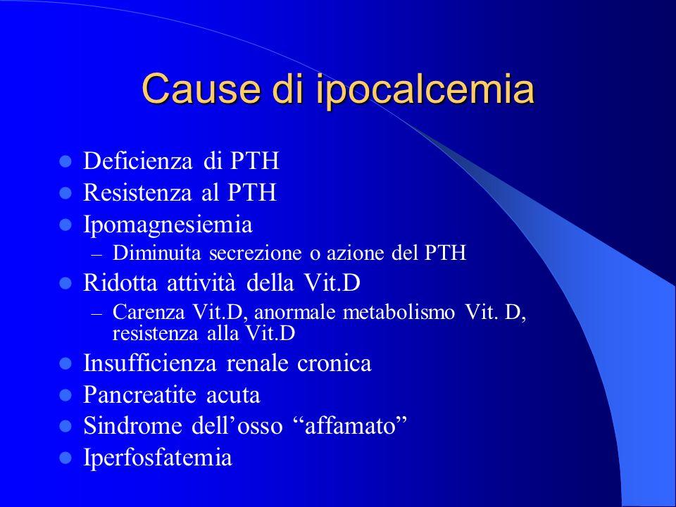 Cause di ipocalcemia Deficienza di PTH Resistenza al PTH Ipomagnesiemia – Diminuita secrezione o azione del PTH Ridotta attività della Vit.D – Carenza