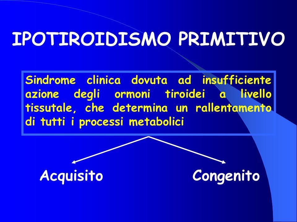 IPOTIROIDISMO PRIMITIVO Sindrome clinica dovuta ad insufficiente azione degli ormoni tiroidei a livello tissutale, che determina un rallentamento di t