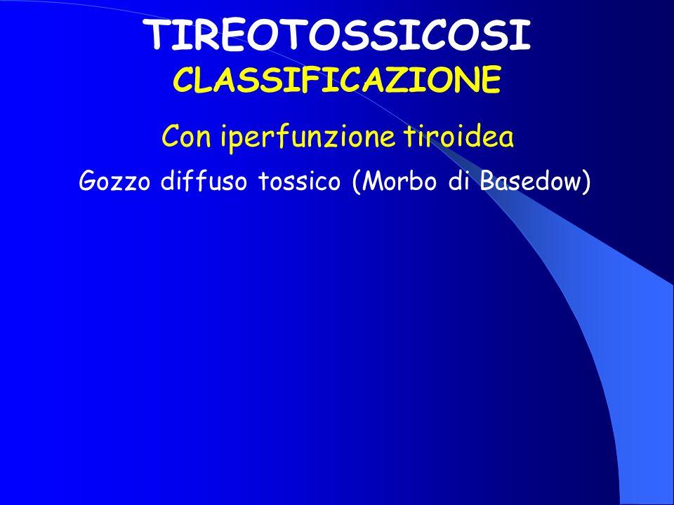 TIREOTOSSICOSI CLASSIFICAZIONE Con iperfunzione tiroidea Gozzo diffuso tossico (Morbo di Basedow)
