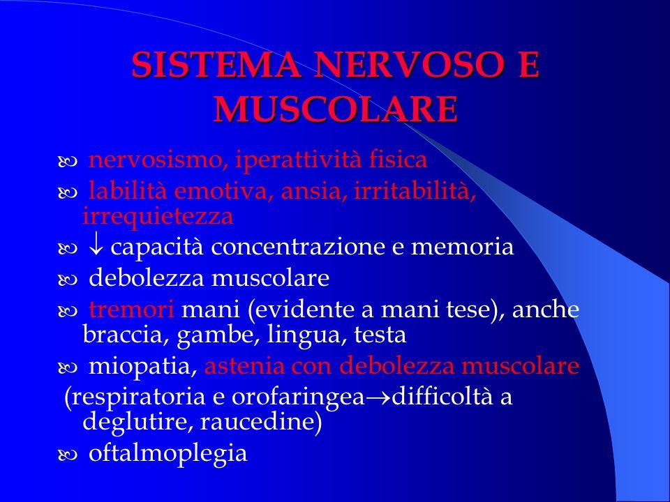 SISTEMA NERVOSO E MUSCOLARE nervosismo, iperattività fisica labilità emotiva, ansia, irritabilità, irrequietezza capacità concentrazione e memoria deb