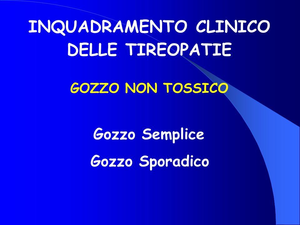 Gozzo Sporadico INQUADRAMENTO CLINICO DELLE TIREOPATIE Gozzo Semplice GOZZO NON TOSSICO