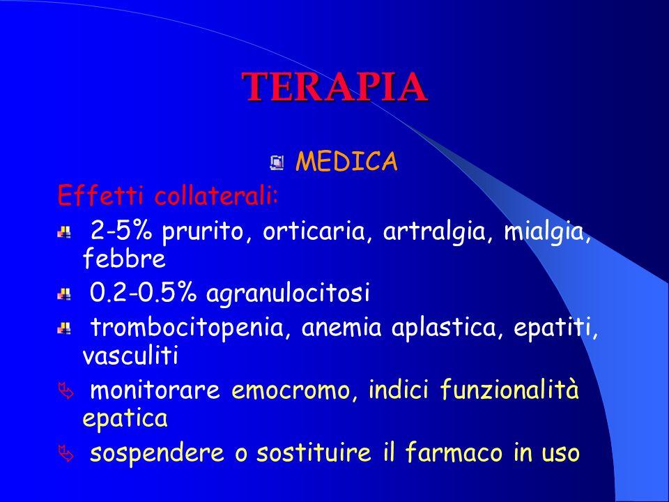 TERAPIA MEDICA Effetti collaterali: 2-5% prurito, orticaria, artralgia, mialgia, febbre 0.2-0.5% agranulocitosi trombocitopenia, anemia aplastica, epa