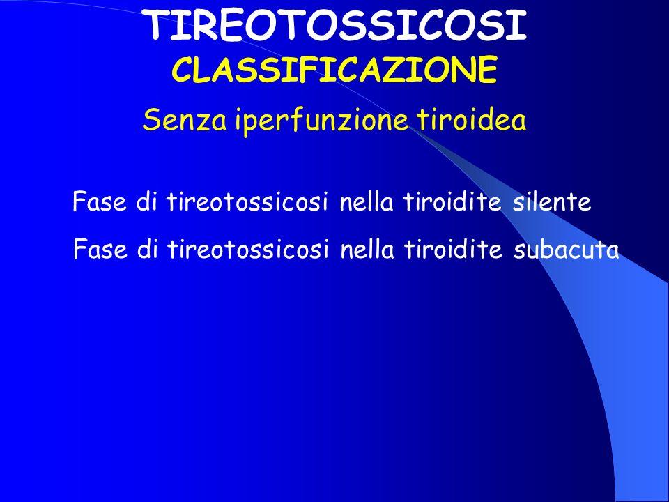 TIREOTOSSICOSI CLASSIFICAZIONE Senza iperfunzione tiroidea Fase di tireotossicosi nella tiroidite silente Fase di tireotossicosi nella tiroidite subac