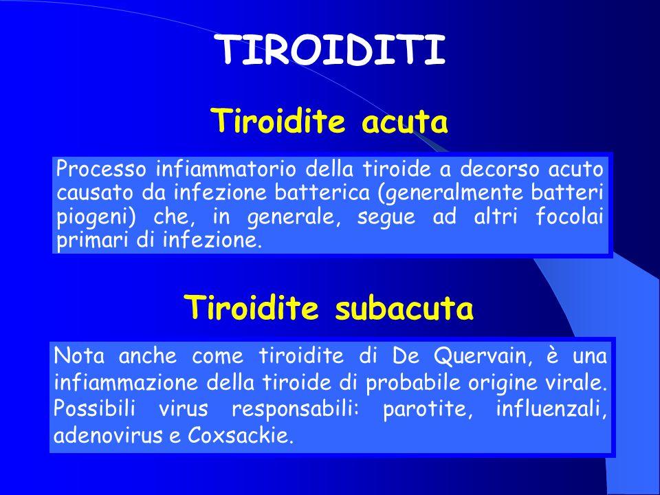 TIROIDITI Processo infiammatorio della tiroide a decorso acuto causato da infezione batterica (generalmente batteri piogeni) che, in generale, segue a