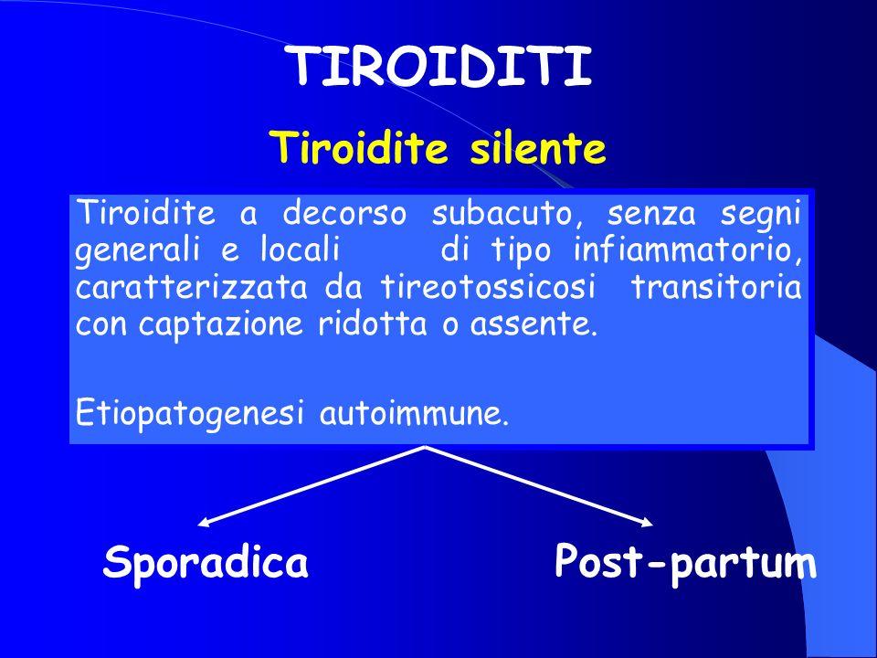 TIROIDITI Tiroidite a decorso subacuto, senza segni generali e locali di tipo infiammatorio, caratterizzata da tireotossicosi transitoria con captazio