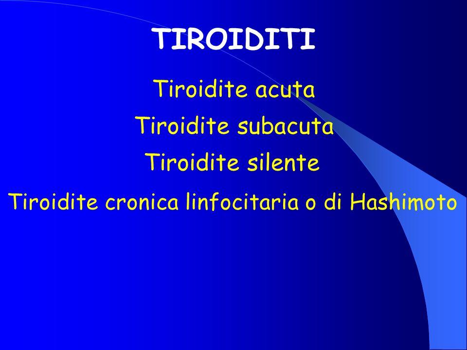 TIROIDITI Tiroidite acuta Tiroidite subacuta Tiroidite silente Tiroidite cronica linfocitaria o di Hashimoto