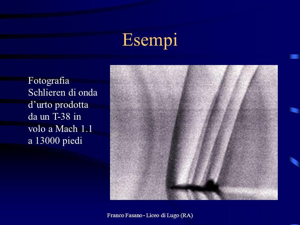 Franco Fasano - Liceo di Lugo (RA) Esempi Fotografia Schlieren di onda durto prodotta da un T-38 in volo a Mach 1.1 a 13000 piedi