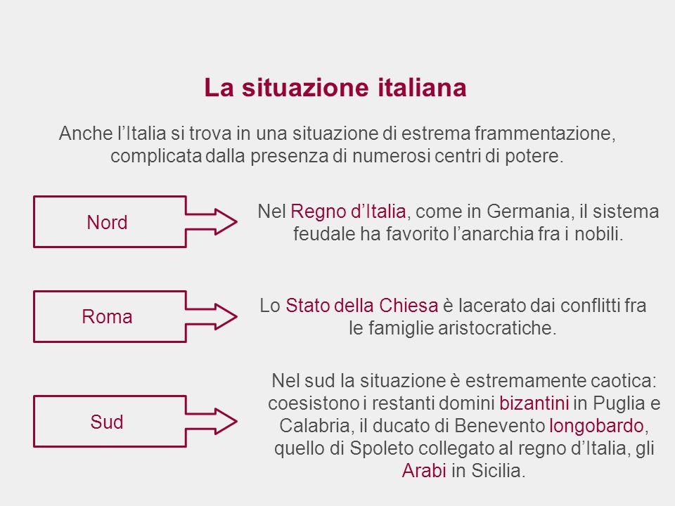 La situazione italiana Nel Regno dItalia, come in Germania, il sistema feudale ha favorito lanarchia fra i nobili. Nord Sud Roma Lo Stato della Chiesa