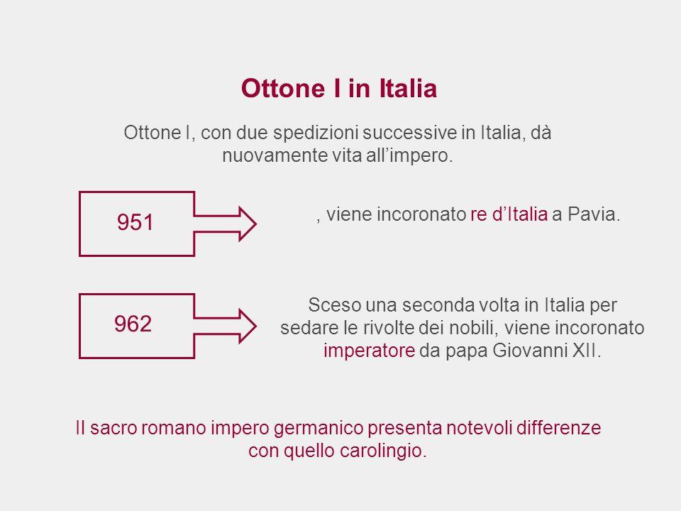 Ottone I in Italia Ottone I, con due spedizioni successive in Italia, dà nuovamente vita allimpero. 951 Il sacro romano impero germanico presenta note