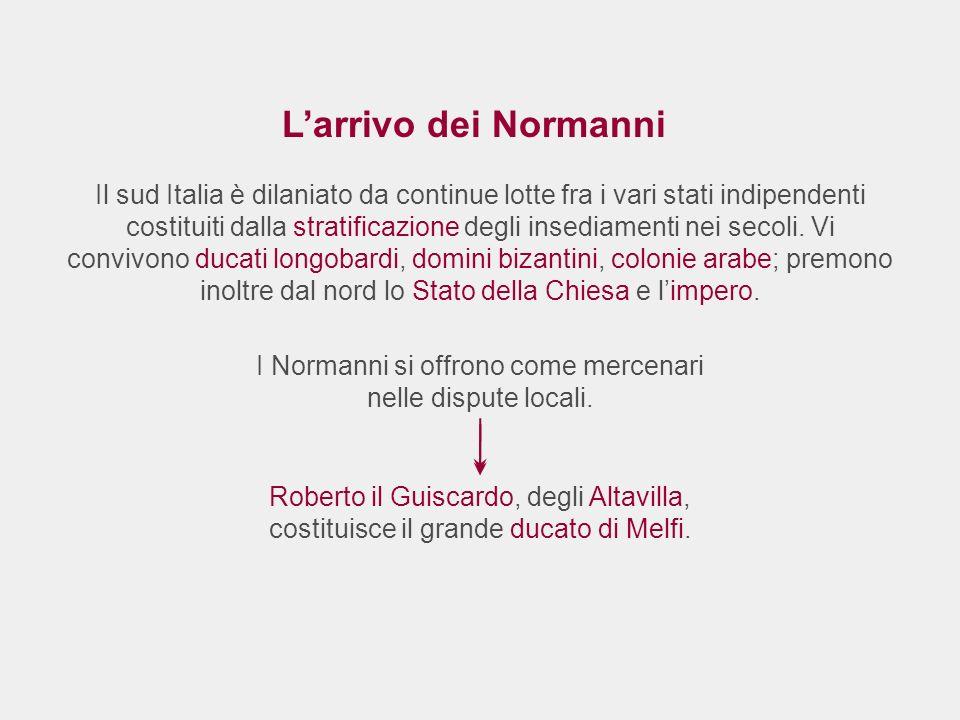 Larrivo dei Normanni Il sud Italia è dilaniato da continue lotte fra i vari stati indipendenti costituiti dalla stratificazione degli insediamenti nei