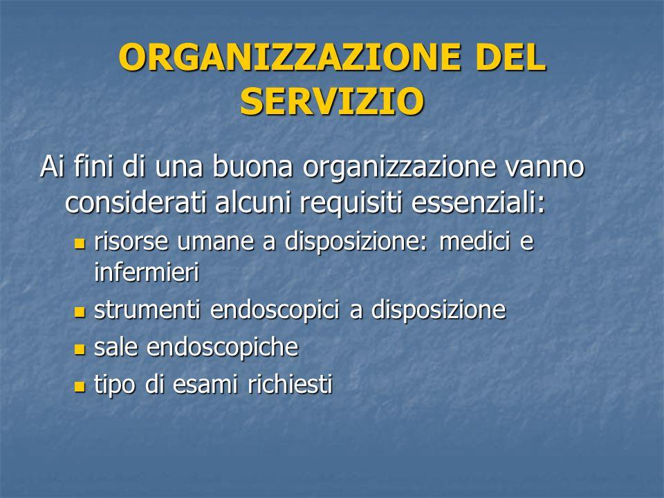 ORGANIZZAZIONE DEL SERVIZIO Ai fini di una buona organizzazione vanno considerati alcuni requisiti essenziali: risorse umane a disposizione: medici e