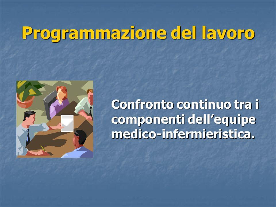 Confronto continuo tra i componenti dellequipe medico-infermieristica. Programmazione del lavoro