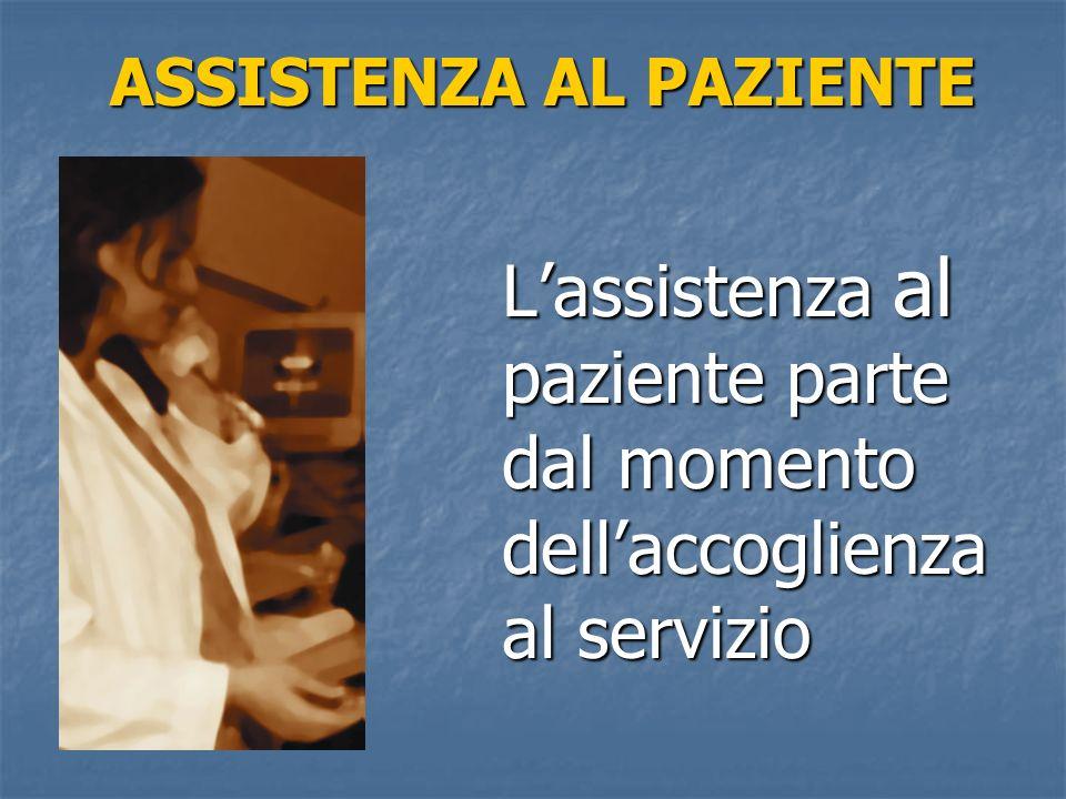 ASSISTENZA AL PAZIENTE Lassistenza al paziente parte dal momento dellaccoglienza al servizio