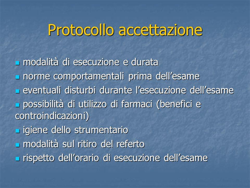Protocollo accettazione modalità di esecuzione e durata modalità di esecuzione e durata norme comportamentali prima dellesame norme comportamentali pr