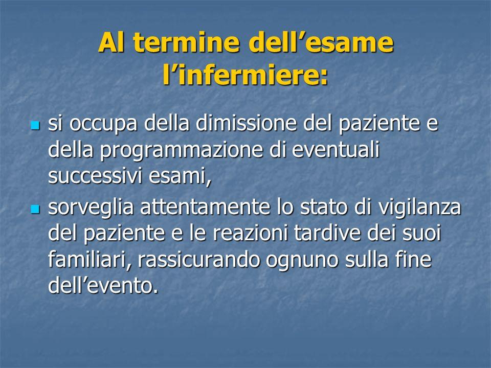 Al termine dellesame linfermiere: si occupa della dimissione del paziente e della programmazione di eventuali successivi esami, si occupa della dimiss