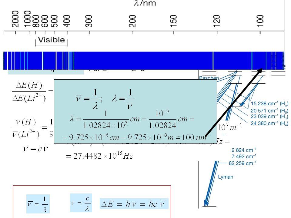 1.La prima riga di Lyman per latomo di H è 102824 cm -1.