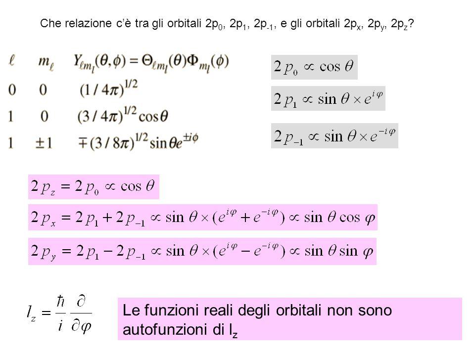 Che relazione cè tra gli orbitali 2p 0, 2p 1, 2p -1, e gli orbitali 2p x, 2p y, 2p z .