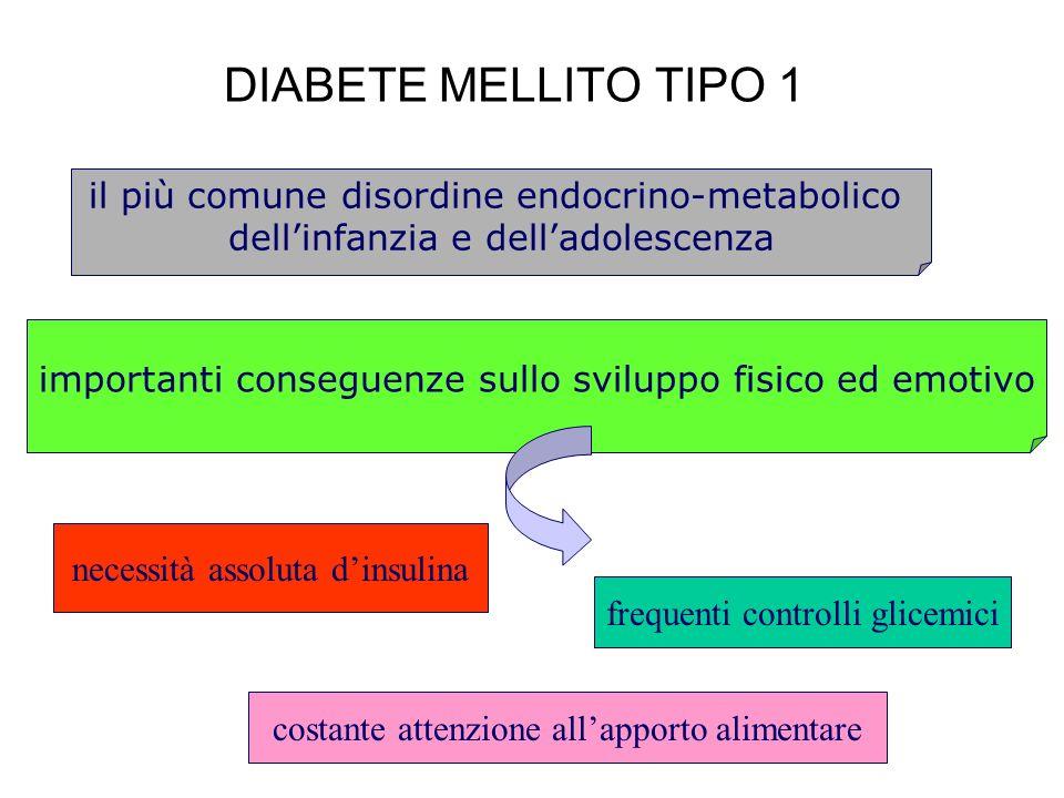 DIABETE MELLITO TIPO 1 necessità assoluta dinsulina frequenti controlli glicemici costante attenzione allapporto alimentare il più comune disordine en